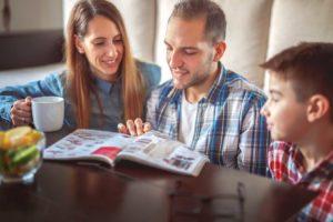 Family-reading-marketing-mail